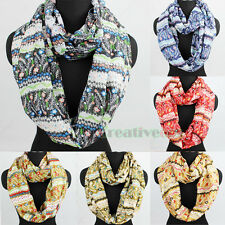 Women Fashion Scarves Cute Flower Pattern Floral Stripes Long/Infinity Scarf New