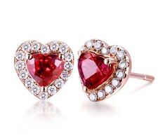 18K Rose Gold GP Red Swarovski Crystal Heart Marriage Lady Earrings Studs E382g