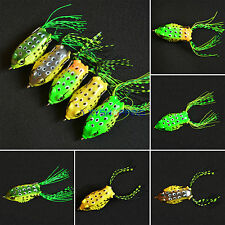 1Pcs Frog Topwater Soft Minnow Fishing Lures Crankbait Hooks Bass Baits Tackle