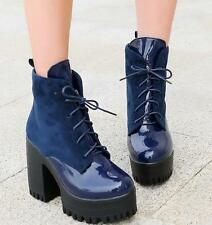 US4.5-11 Punk Womens Chunky Heels Ankle Boots Lace Up Patent Leather Shoes Size