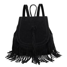 Fashion Tassel Bucket Drawstring Plush Portable Bag Backpack for Women AAU