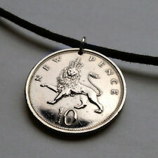 Great Britain 10 Pence coin pendant English necklace crown LION British n000583