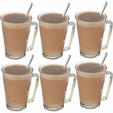 12 Piece Glass Mugs Latte Spoons Tea Irish Coffee Cappuccino 230ml Cups Glasses