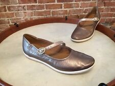 Clarks Pewter Metallic Leather Mary Jane Helina Amo Slip on Shoe New