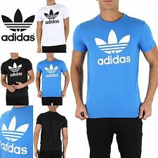 Adidas Originals Mens Branded Trefoil Crew Neck Cotton Short Sleeve T Shirt Top
