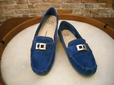 Isaac Mizrahi Alcot Blue Suede Lock Detail Moccasins Loafer NEW