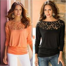 ladys Sexy lace splice bat shirt Long Sleeve Shirt Tops Loose Blouse plus size