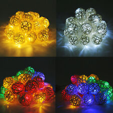 Room 20 Rattan Ball LED Light String Fairy Lamp Home Wedding Party Xmas Decor MO