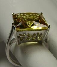 12ct Square *Yellow Citrine* Solid Sterling Silver Filigree Ring Size Any/MTO