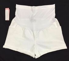*New* Liz Lange Maternity Cute Size X-Small Over the Belly White Cotton Shorts!