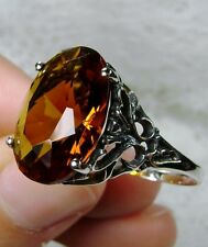 8ct Oval*Orange Citrine* Solid Sterling Silver Swirl Filigree Ring Size: Any/MTO