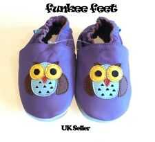 NEW SOFT LEATHER BABY SHOES 0-6, 6-12, 12-18, 18-24, 24-36 MTHS OWL