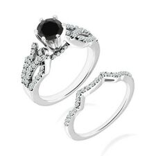 1 Carat Black Diamond By Pass Wedding Solitaire Bridal Ring Band 14K White Gold
