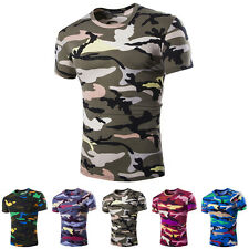 New Popular Mens Crew Neck Camouflage Casual T-Shirt Short Sleeve Slim Fit Tops