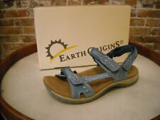 Earth Origins Barkley Blue Suede Ankle Strap Sporty Sandals NEW