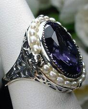 18ct *Amethyst* & Pearl Sterling Silver Victorian Filigree Ring Size Any/MTO