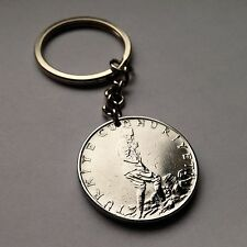 Turkey 2-1/2 lira coin pendant KEYCHAIN Turkish man crescent moon star n001485