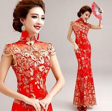 Chinese Red Lace Embroidery slim fit Cheongsam Prom Wedding Ball Gown Dress