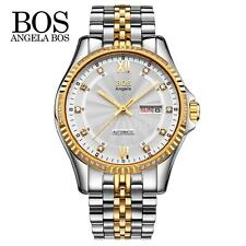 Luxury BOS Black Dial Automatic Mechanical Mens Date Analog Luminous Watch I1T1