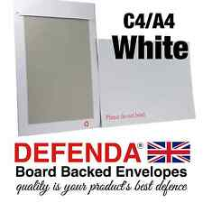 """WHITE C4 A4 PIP size STRONG BOARD BACKED ENVELOPES Hard Card Back 12""""x 9"""""""