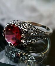 Art Deco Floral *Red Ruby* Sterling Silver Filigree Ring Size: {Made To Order}