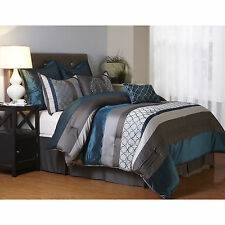 Avalon Grey and Blue 8-Piece Polyester Comforter Set