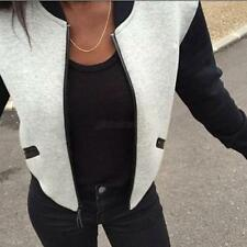 Fashion Women Ladies Plain Baseball Cotton Zip Up Slim Coat Cardigan Jacket Plus