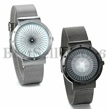 Mens Womens Wrist Watch Stainless Steel Net Strap Bracelet Quartz Casual Watches