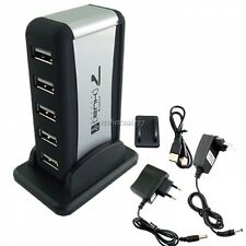 EU/AU StandardS 7 Port USB 2.0 High-Speed HUB Powered+AC Adapter Cable New