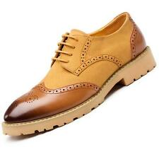Fashion Mens Lace Up Suede Leather Brogues Wing tip Canved Formal Shoes Dress