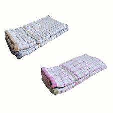 SET OF 2 - 100% COTTON Kitchen Hand Dish Cloth Checkered Large Tea Towel 60x85cm