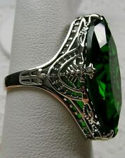 13ct *Emerald* Deco 1930s Design Filigree Sterling Silver Ring Size: MTO/Custom