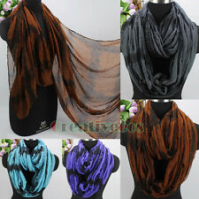 Women Fashion Scarves Vintage Pattern Floral Print Plaid Long/Infinity Scarf New