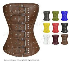 Heavy Duty Full Steel Boned Waist Training  Leather Overbust Corset #1216-LE