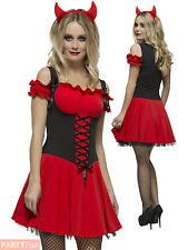 Ladies Fever Wicked Devil Costume Adult Halloween Fancy Dress Womans Sexy Outfit