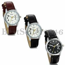 Mens Classic Black Brown Leather Band Date Quartz Analog Sport Wrist Watch Gift