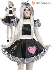 Ladies Halloween Broken Rag Doll Fancy Dress Costume Zombie Ghost Womens Outfit