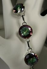 "Round Rainbow *Mystic Topaz* Filigree Chain Link Bracelet 7""-8.5""{Made To Order}"