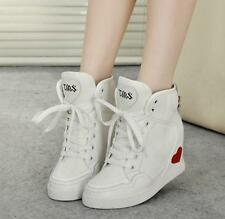 Womens Hidden Wedge Heels Lace Up Sneaker Athletic Skateboard Shoes ankle boots