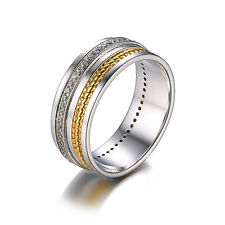 JewelryPalace New Two-Tone Ring Band CZ 925 Sterling Silver 18k Gold Plated