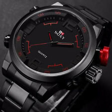 Men 3D Digital LED Date Day Stainless Steel Sport Alarm Quartz Wrist Watch