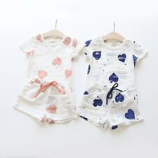 New Baby Girls Heart Love Clothing Set T-Shirt + Shorts 2 Pcs/Set Outfit Suit