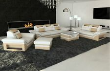 Couch MONZA 3- Seat+ 2- seat+ Chair Designer Leather sofa white sand beige LED