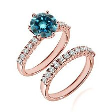 1.25 Ct Blue Diamond Fancy Wedding Anniversary Solitaire Ring Bnad Rose Gold