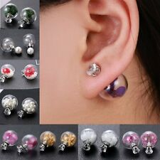 Hot Real Flower Dandelion Seeds Glass Ball Crystal Ear Studs Earrings Xmas Gifts