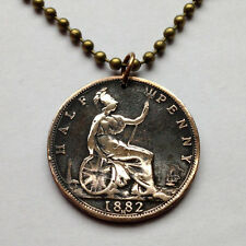 UK Great Britain 1/2 Penny coin pendant British necklace Queen Victoria n000509