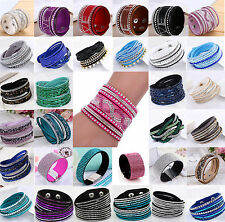 Fashion Leather Wrap Wristband Cuff Punk Crystal Rhinestone Bracelet Bangle AA+