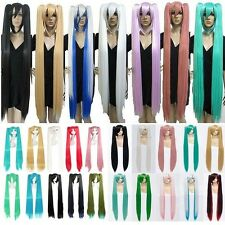 Long Blue Green White Vocaloid Hatsune Miku Anime Cosplay Full wig 2 Ponytails T