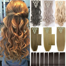 Professional Full Head Clip in on Hair Extensions 18 Clips 8Pcs DIY US STOCK t30