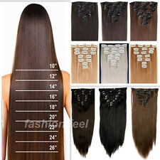 Extra Long Thicker Curly Wavy Straight Hair Extensions 18Clip in Hairpieces ha90